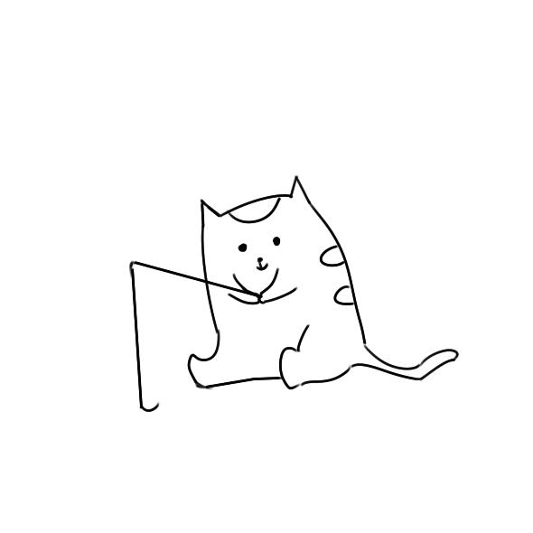 小猫钓鱼简笔画原创教程步骤 5068儿童网