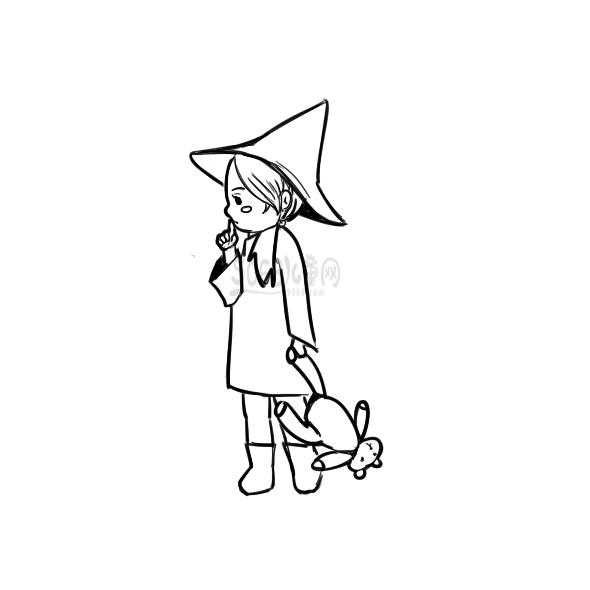 漂亮的小女巫简笔画要怎么画