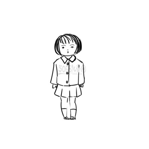 可愛的女孩子簡筆畫原創教程步驟