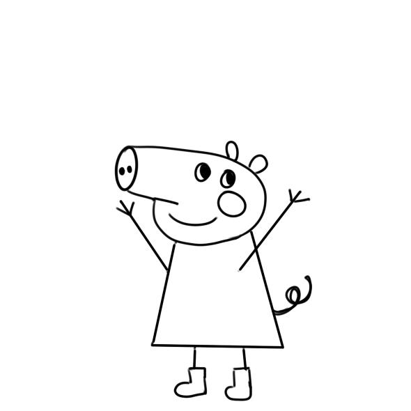 小猪佩奇简笔画原创教程步骤