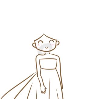 漂亮的新娘简笔画怎么画