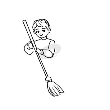 又簡單又好看的學雷鋒掃地簡筆畫怎么畫