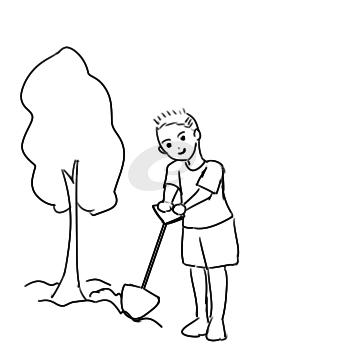 學雷鋒植樹簡筆畫怎么畫
