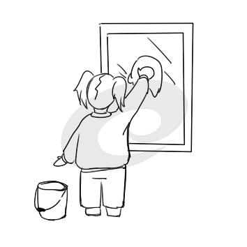 学雷锋擦玻璃简笔画手绘步骤图