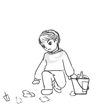 学雷锋捡垃圾简笔画
