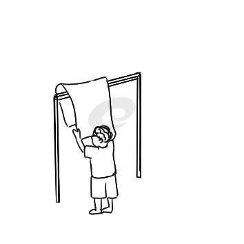 学雷锋嗮被子简笔画手绘步骤图
