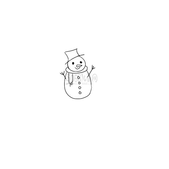漂亮的小雪人简笔画怎么画