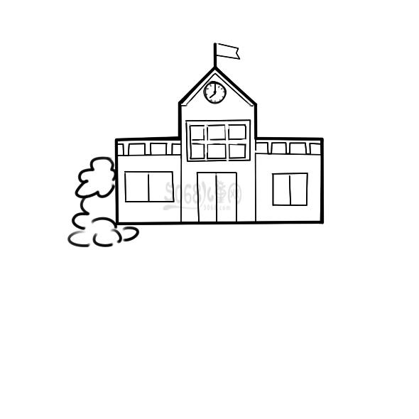 漂亮的学校简笔画步骤图