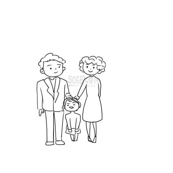 一家人的全家福照片簡筆畫怎么畫