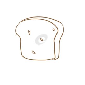超簡單的面包片簡筆畫原創教程步驟