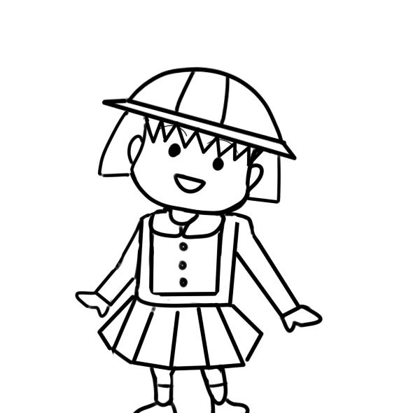 超簡單的櫻桃小丸子簡筆畫步驟圖