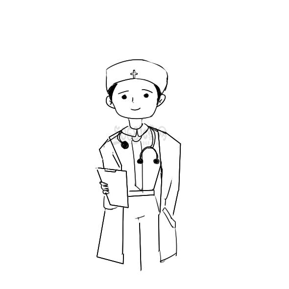 小学生学画漂亮的医生简笔画教程