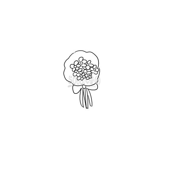 送别人的一束花要怎么画 送礼花束简笔画手绘教程