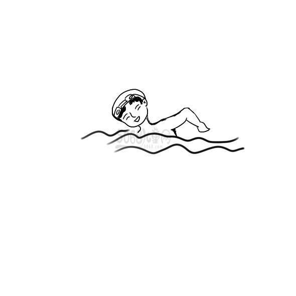 游泳的男孩简笔画怎么画