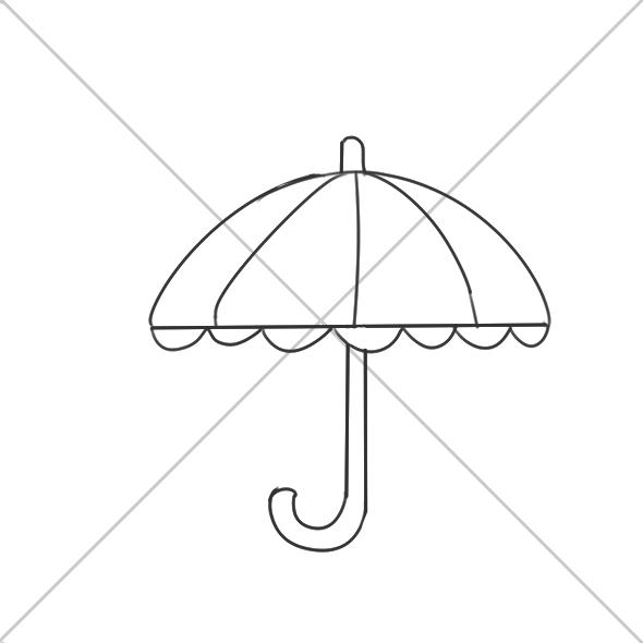 超簡單的漂亮的雨傘簡筆畫步驟圖