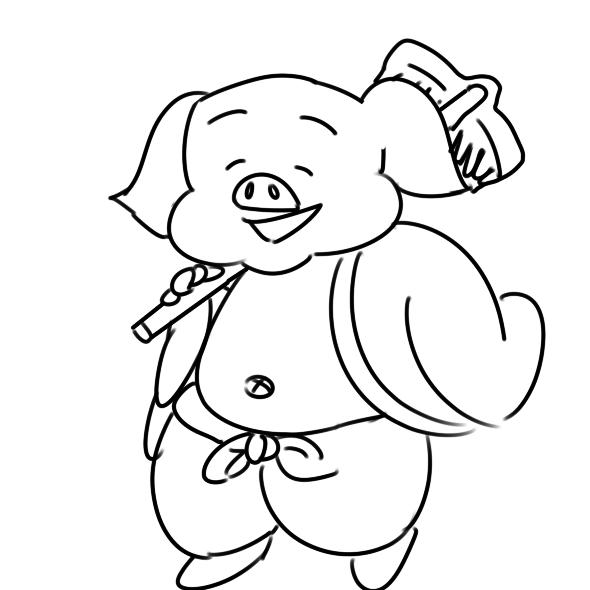 胖乎乎的猪八戒简笔画怎么画
