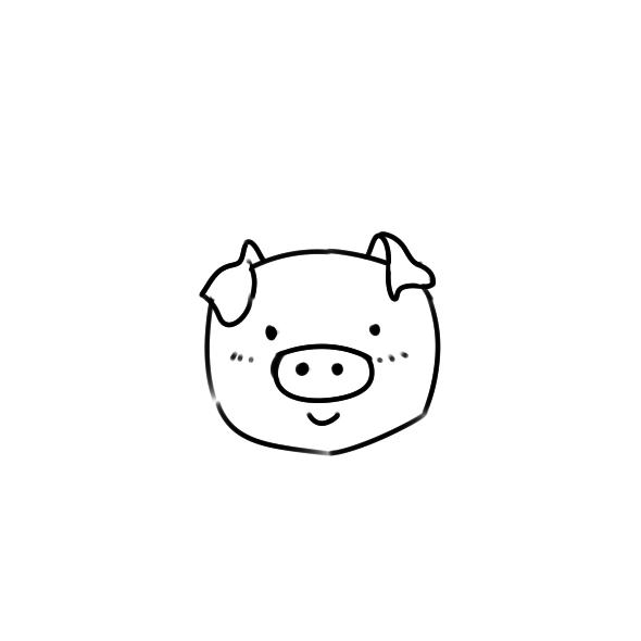 可愛的豬頭簡筆畫怎么畫